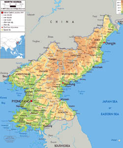 Large physical map of North Korea with roads, cities and airports.