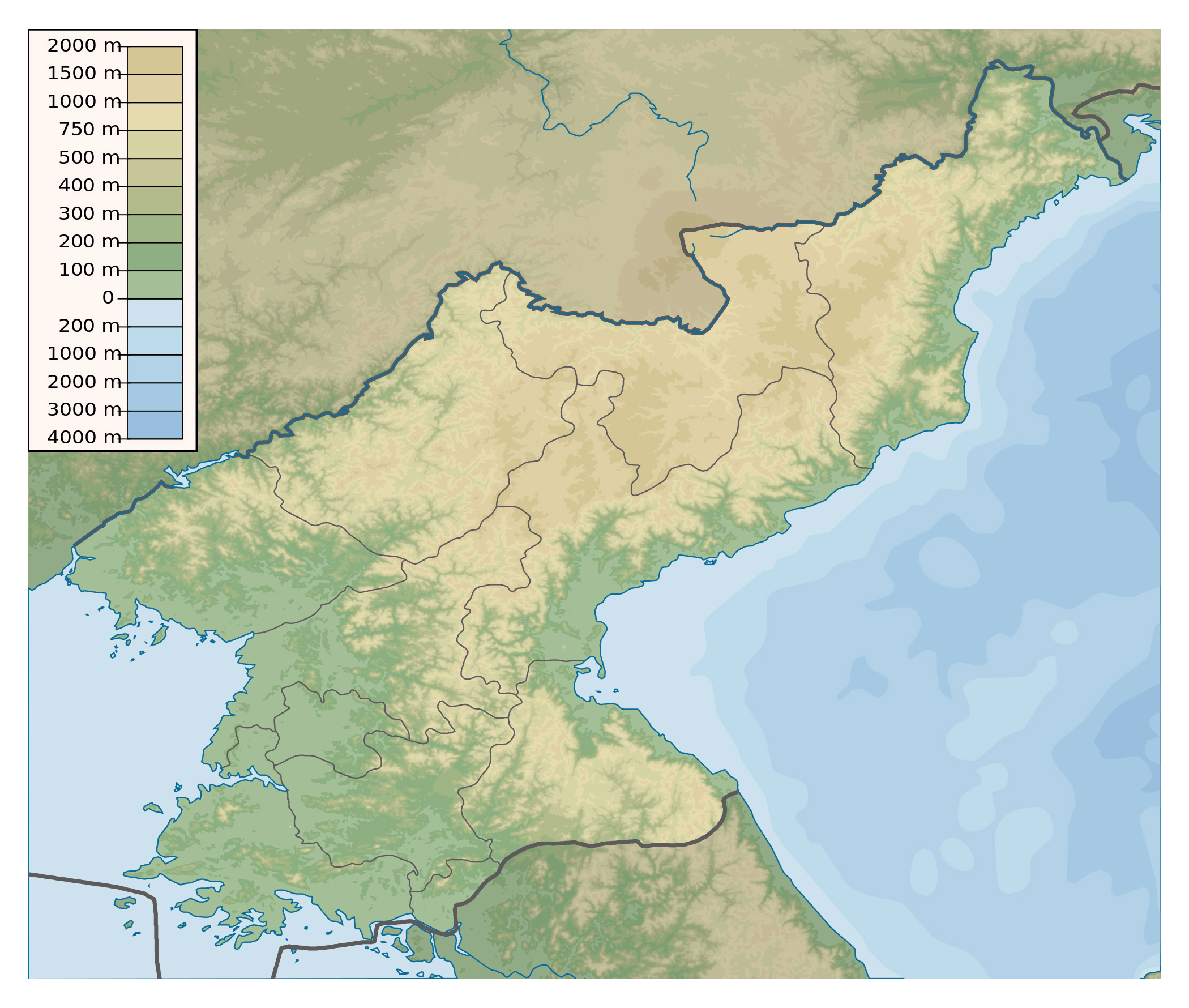 Maps of north korea dprk detailed map of north korea in english large physical map of north korea gumiabroncs Image collections