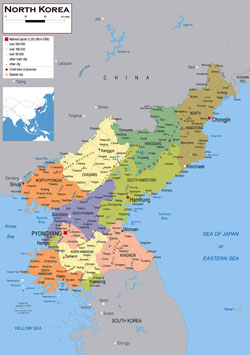 Large political and administrative map of North Korea (DPRK) with roads, airports and cities.