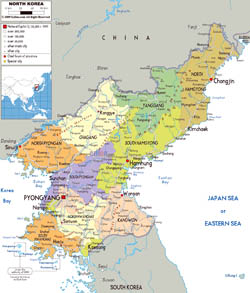 Large political and administrative map of North Korea with roads, cities and airports.