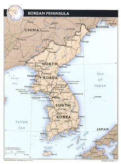 Large political map of Korean Peninsula with relief, roads and major cities - 2011.