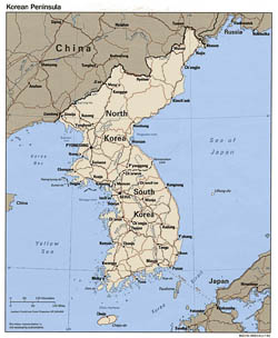 Large political map of Korean Peninsula with roads and major cities - 1993.