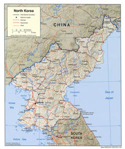 Large political map of North Korea with relief, roads and cities - 2005.