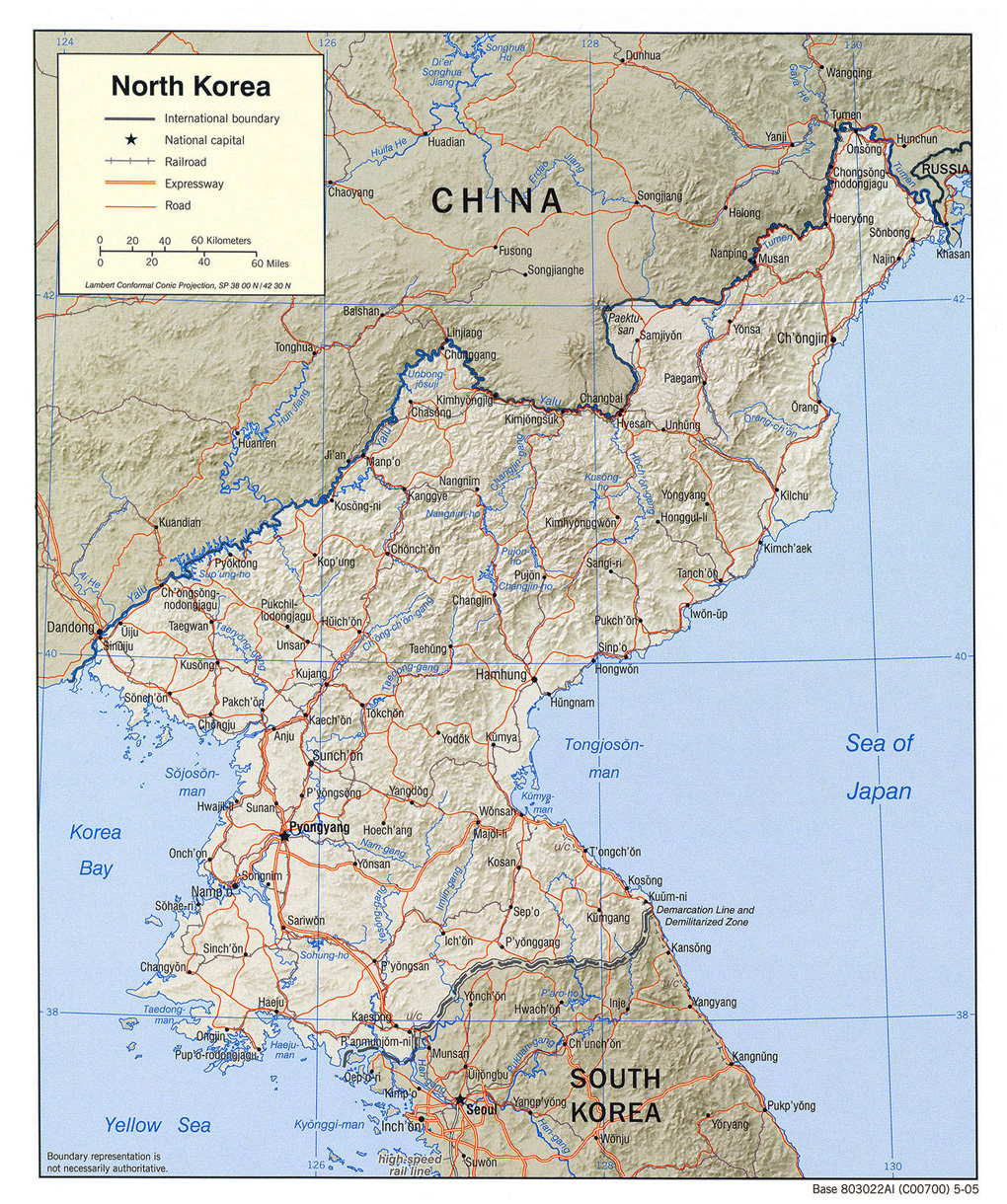 Maps of North Korea DPRK Detailed map of North Korea in English Tourist