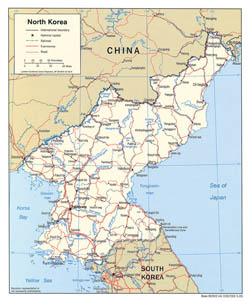 Large political map of North Korea with roads and cities - 2005.