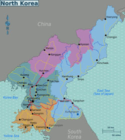 Large regions map of North Korea.