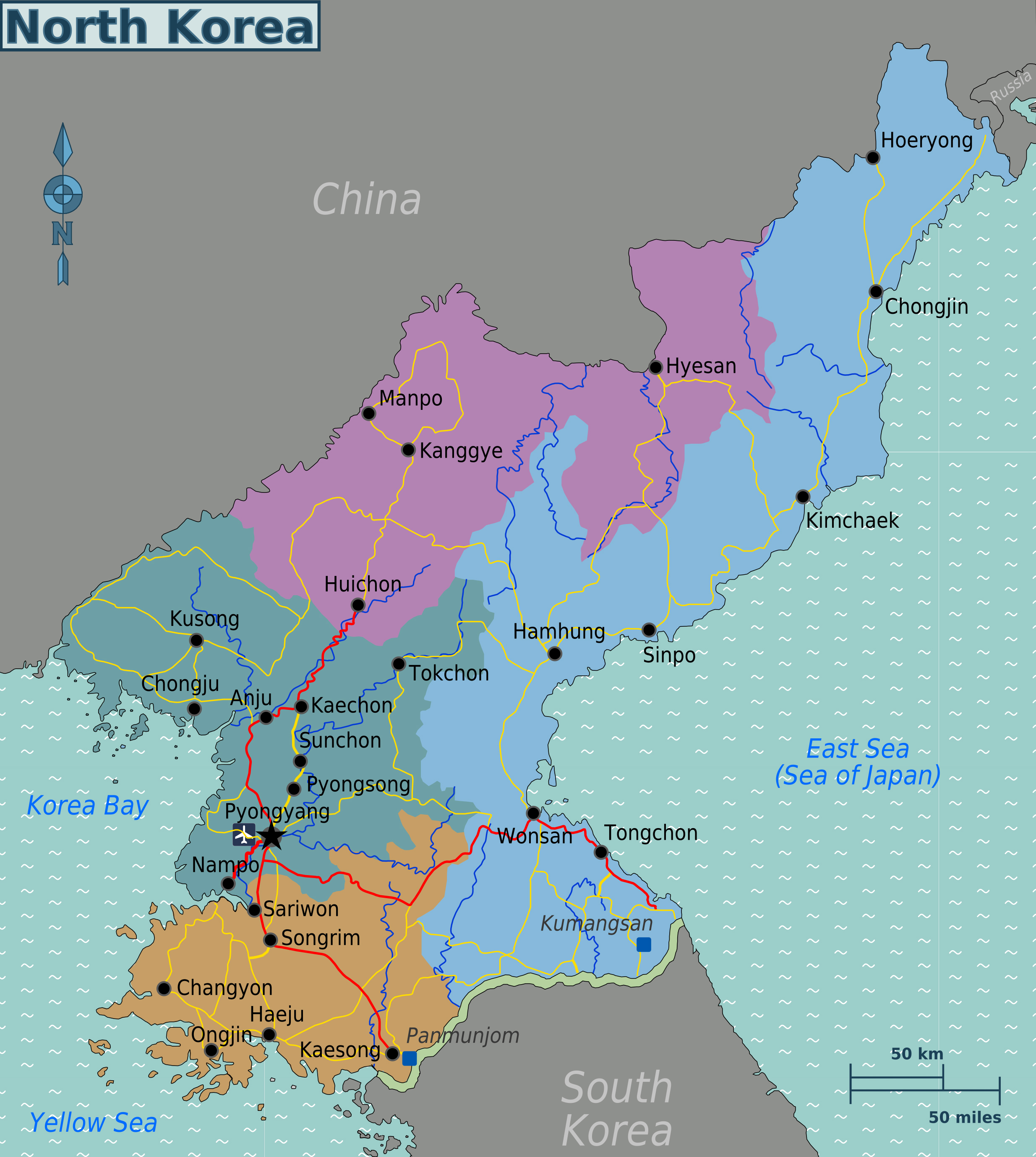 Maps of North Korea DPRK Detailed map of North Korea in English
