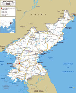 Large road map of North Korea with cities and airports.