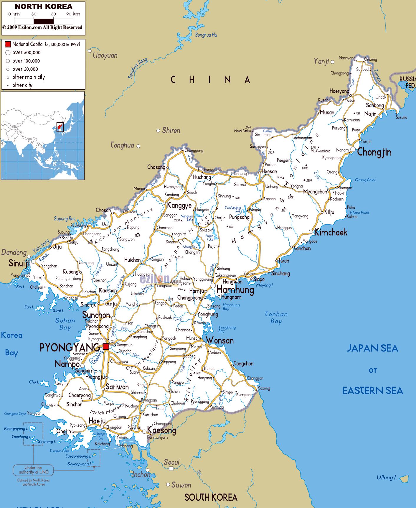 Maps of north korea dprk detailed map of north korea in english large road map of north korea with cities and airports gumiabroncs Choice Image