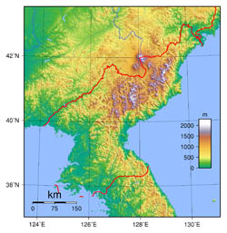 Large topographical map of North Korea.