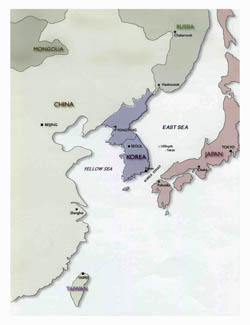 Political map of Korean Peninsula - 2001.