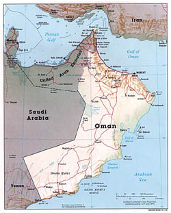 Detailed political map of Oman with relief, roads and cities - 1996.