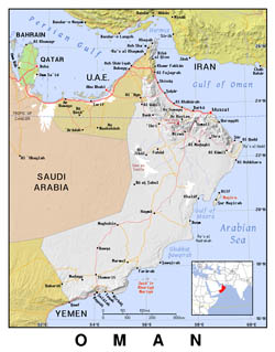 Detailed political map of Oman with relief.