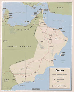 Detailed political map of Oman with roads and cities - 1979.