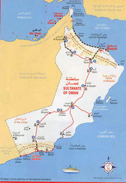 Detailed tourist map of Oman.