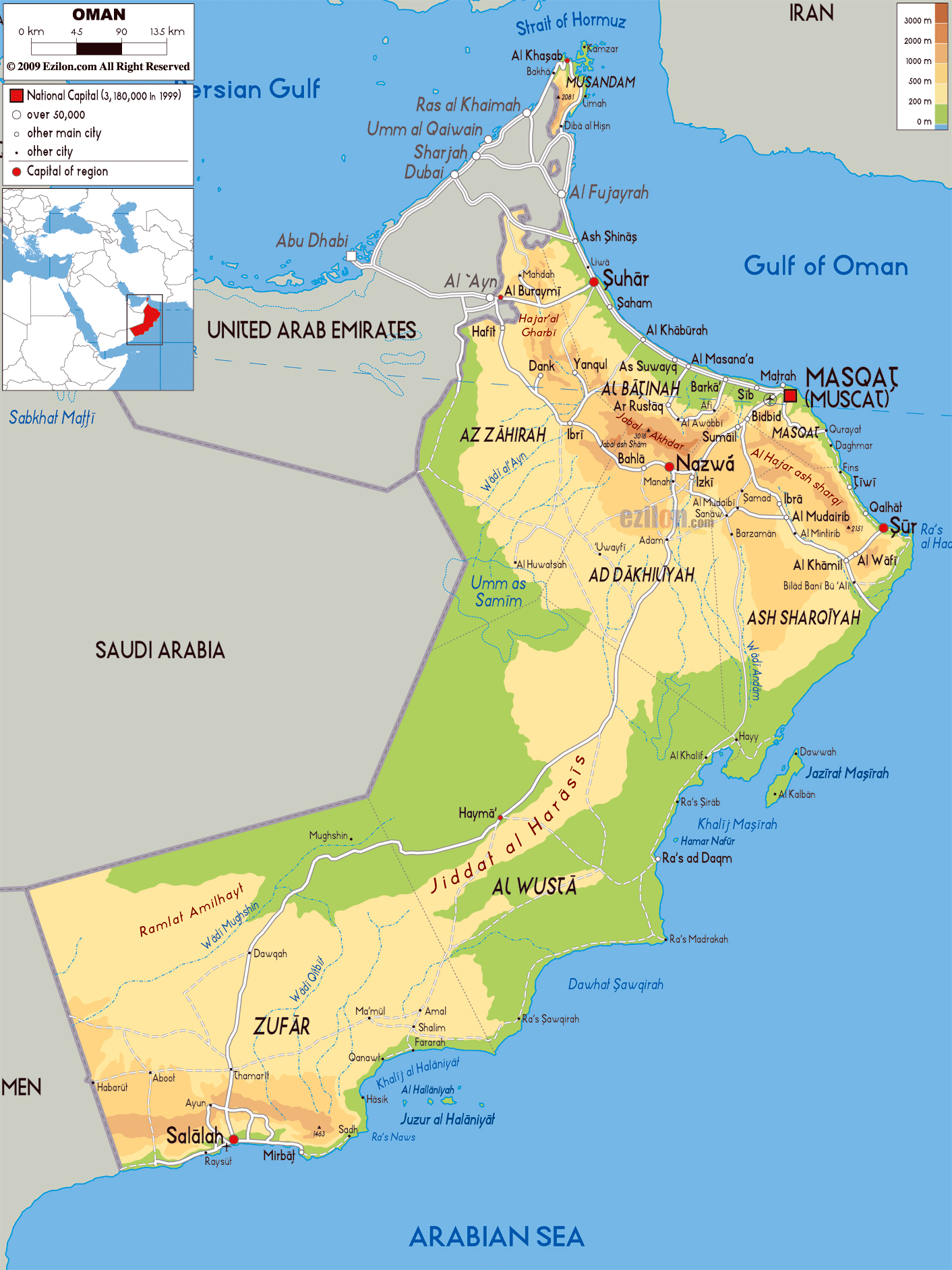 Maps Of Oman Detailed Map Of Oman In English Tourist Map Of - Oman in world map