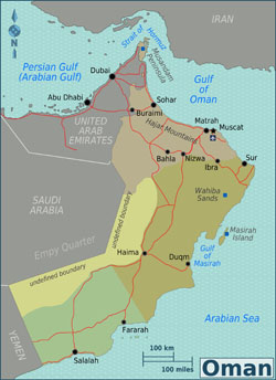 Large regions map of Oman.