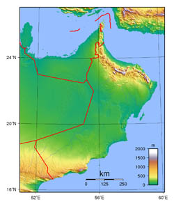 Large topographical map of Oman.