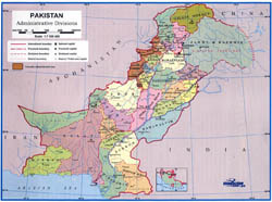 Detailed administrative divisions map of Pakistan.