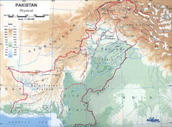 Detailed physical map of Pakistan.