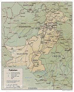 Detailed political and administrative map of Pakistan with relief, roads and cities - 1991.