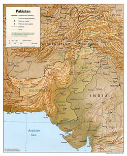 Detailed political and administrative map of Pakistan with relief, roads and cities - 1996.