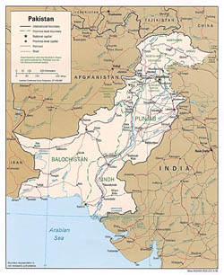 Detailed political and administrative map of Pakistan with roads and cities - 1996.