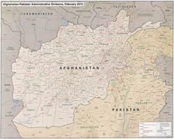 Large detailed administrative divisions map of Afghanistan and Pakistan with relief - 2012.