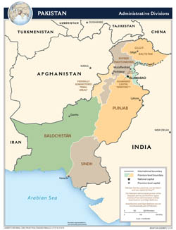 Large detailed administrative divisions map of Pakistan - 2010.