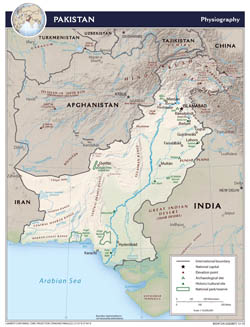 Large detailed physiography map of Pakistan - 2010.