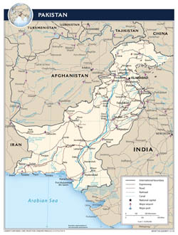 Large detailed political map of Pakistan with roads, cities and airports - 2010.