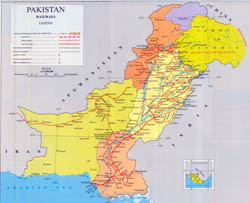 Large detailed railways map of Pakistan.