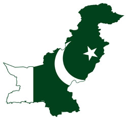 Large flag map of Pakistan.