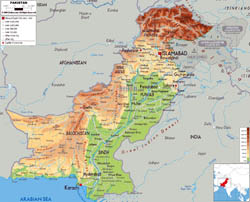 Large physical map of Pakistan with roads, cities and airports.