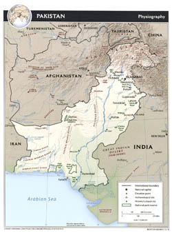 Large physiography map of Pakistan - 2010.