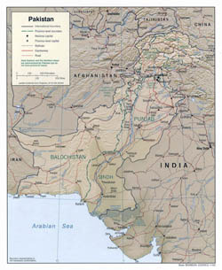 Large political and administrative map of Pakistan with relief, roads and cities - 2002.