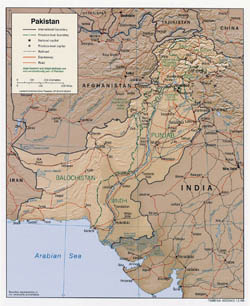 Large political and administrative map of Pakistan with relief, roads and cities - 2009.