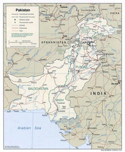 Large political and administrative map of Pakistan with roads and cities - 2002.