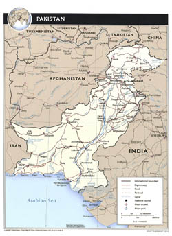 Large political map of Pakistan with roads, cities and airports - 2010.