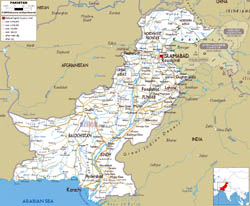 Large road map of Pakistan with cities and airports.