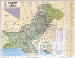 Large scale detailed road map of Pakistan with all cities.