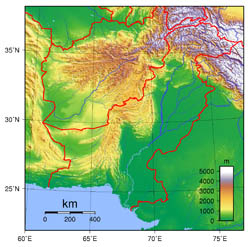 Large topographical map of Pakistan.