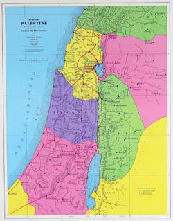 Detailed Palestine New Testament map.