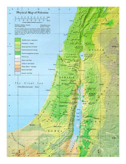 Detailed physical map of Palestine.