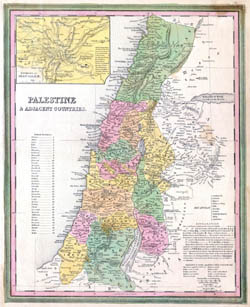 Large detailed old map of Palestine and adjacent countries - 1836.