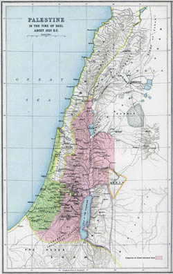 Large old map of Palestine - 1020 BC.