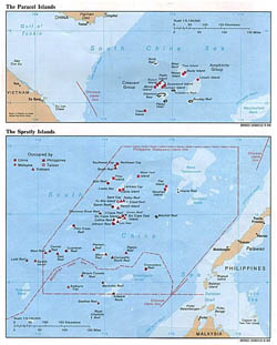 Detailed political map of Paracel Islands and Spratly Islands - 1988.