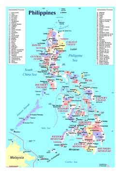Detailed administrative divisions map of Philippines.