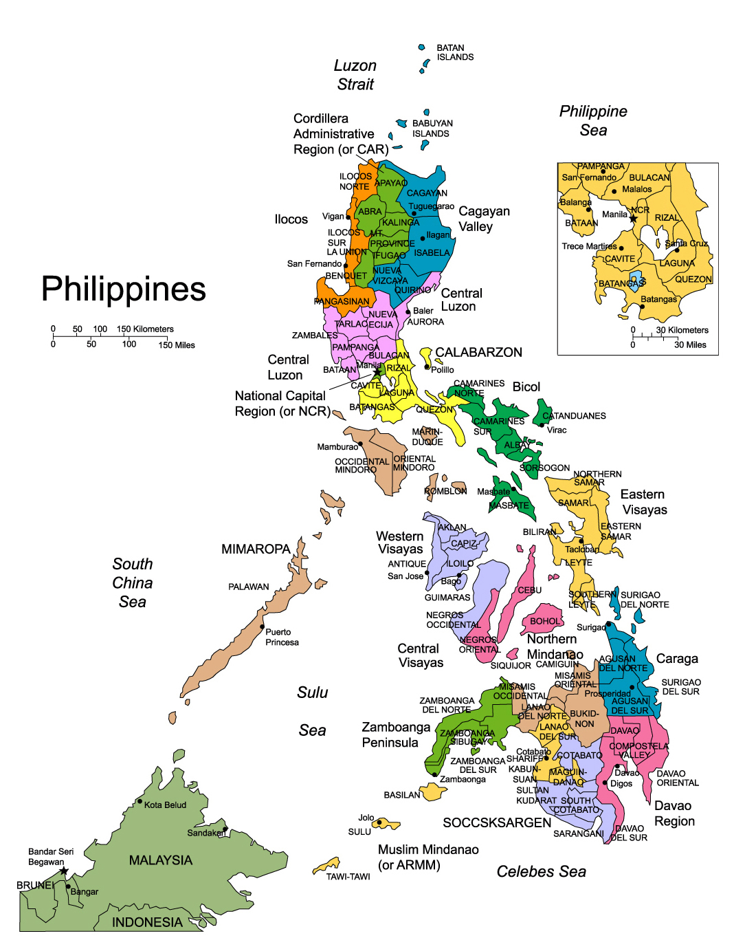 detailed administrative map of philippines. maps of philippines  detailed map of philippines in english