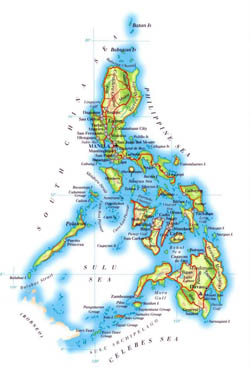 Detailed elevation map of Philippines with roads, cities and airports.